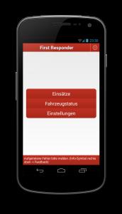 Der alte Hauptbildschirm: Auswahl zwischen Einsätzen, Fahrzeugstatus und Einstellungen.